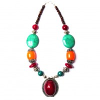 Handcrafted Jumbo Oval Burgundy Pendant Tribal Statement Necklace