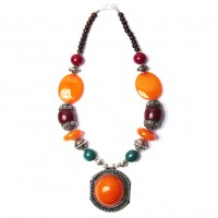 Handcrafted Jumbo Round Amber Honey Pendant Tribal Statement Necklace