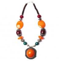 Handcrafted Jumbo Round Amber Honey Pendant Tribal Statement Necklace