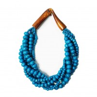 Multi-Strand Turquoise Genuine Bone Horn Necklace