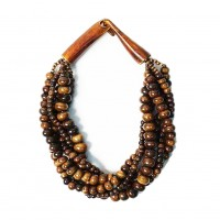 Multi-Strand Coffee Genuine Bone Horn Necklace