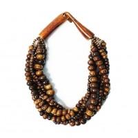 Multi-Strand Coffee Genuine Bone Horn Necklace