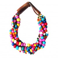Handcrafted Multi-Strand Pastel Color Genuine Bead Horn Statement Necklace