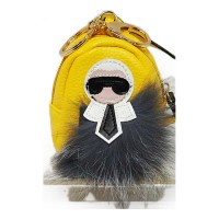 """KL"" Pom Pom Backpack Bag Charm Key Chain"