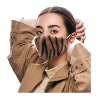 FASHIONABLE BROWN TIGER PRINT FURRY FASHION MASK