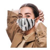 FASHIONABLE WHITE ZEBRA PRINT FURRY FASHION MASK