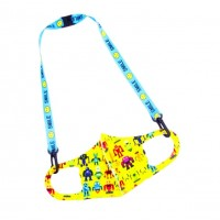 Turquoise Yellow Smiley Face Print Lanyard Kids Mask Holder Strap