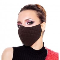 Chic Brown Quilted Leather Fashion Mask