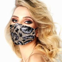 Glamourous Silver Black Leopard Print Sequin Fashion Mask