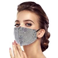 Glittering Silver Sequin Fashion Mask