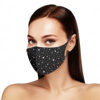 Dazzling Black Bling Bling Stone Embellished Fashion Mask