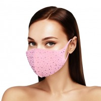 Dazzling Pink Bling Bling Stone Embellished Fashion Mask