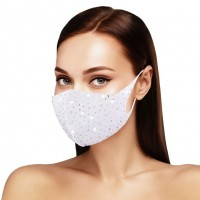 Dazzling White Bling Bling Stone Embellished Fashion Mask