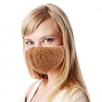 Fashionable Tan Sherpa Fleece Teddy Fashion Mask