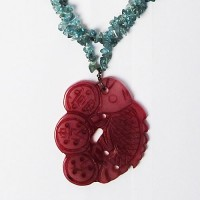 Stylish Adapted Crystal Necklace W/Jade Pendant