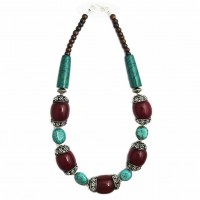 Handcrafted Turquoise Green Tribal Statement Necklace