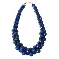 Handcrafted Blue Round Beads Cluster Statement Necklace
