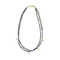 Delicate Pewter Beads Double Strand Choker Necklace
