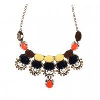 Lovely Vintage Multi Faceted Cluster Drop Bib Statement Necklace