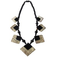 Handcrafted Genuine Bone Horn Geometric Statement Necklace
