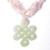 Rose Quartz  Pale Green Lucky Knot  Pendant Necklace
