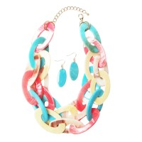 Oversized Chunky Multi Color Double Oval Link Chain Statement Necklace Set