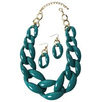 Stylish Teal Oval Chunky-Link Statement Earring Necklace Set