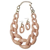 Stylish Pink Oval Chunky-Link Statement Earring Necklace Set