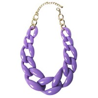 Chunky Purple Oval Link Statement Necklace