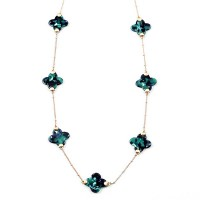 Gorgeous Multi Green Clover Chain Link Statement Necklace