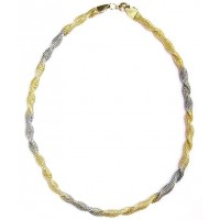 Silver Gold Twist Collar Necklace
