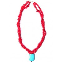 Double Flame Red Coral Turquoise Nugget Necklace