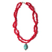 UNIQUE DOUBLE STRAND FLAME RED GENUINE CORAL TURQUOISE NUGGET NECKLACE