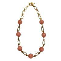 STUNNING RETRO BOLD CORAL BEAD CHAIN NECKLACE
