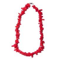 BOHO STRAND FLAME RED GENUINE CORAL BITS NECKLACE