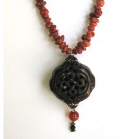 Corals Beads Longevity Bone Pendant Necklace