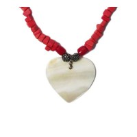 Red Coral Mother Of Pearl Pendant Neckace