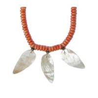 Hot Salmon Coral Mother Of Pearl Leaf Silver Necklace
