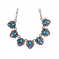 Dazzling Vintage Multi Faceted Blue Sunburst Statement Necklace