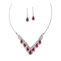Dazzling Red Rhinestone Statement Necklace Set