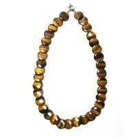 Handcrafted Genuine Tigereye Disk Necklace