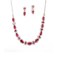 Sparkling Pink Floral Marquise Rhinestone Crystal Statement Necklace Set