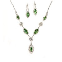 Shimmering Green Marquise Rhinestone Crystal Statement Necklace Set