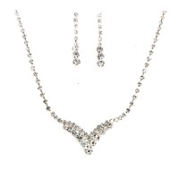 Dazzling Clear Bubble Rhinestone Crystal Statement Necklace Set