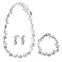 Glittering Iridescent Clear Floral Crystal Statement Necklace Bracelet Set