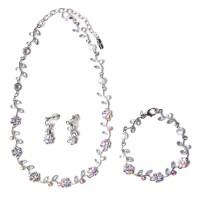 Glittering Floral Crystal Statement Necklace Bracelet Set