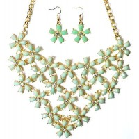 Sea Green Floral Bib Necklace Set