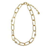 CLASSIC RHINESTONE FLAT OVAL CHAIN LINK NECKLACE