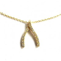 "Gold Rhinestone Wishbone Pendant 15 1/2"" Necklace"