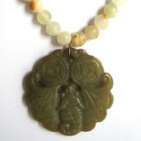 Genuine Cream Beaded Bat Jade Pendant Necklace